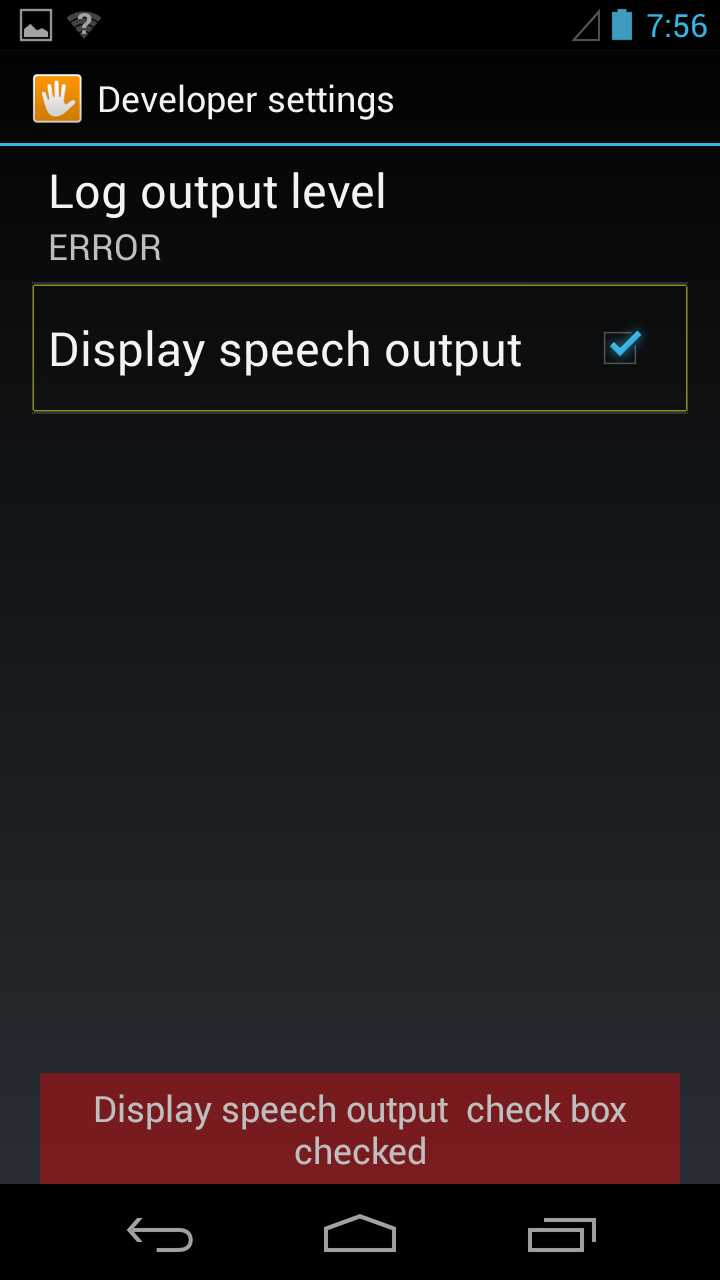 display speech output setting