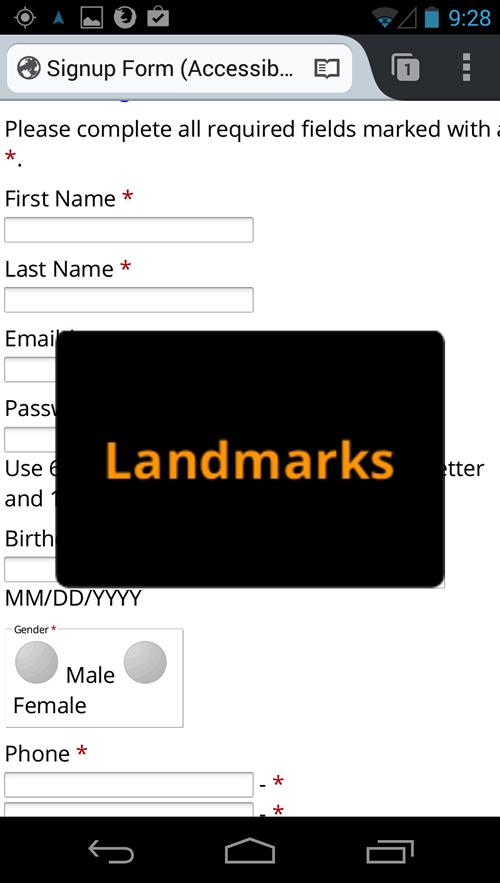landmarks quick nav