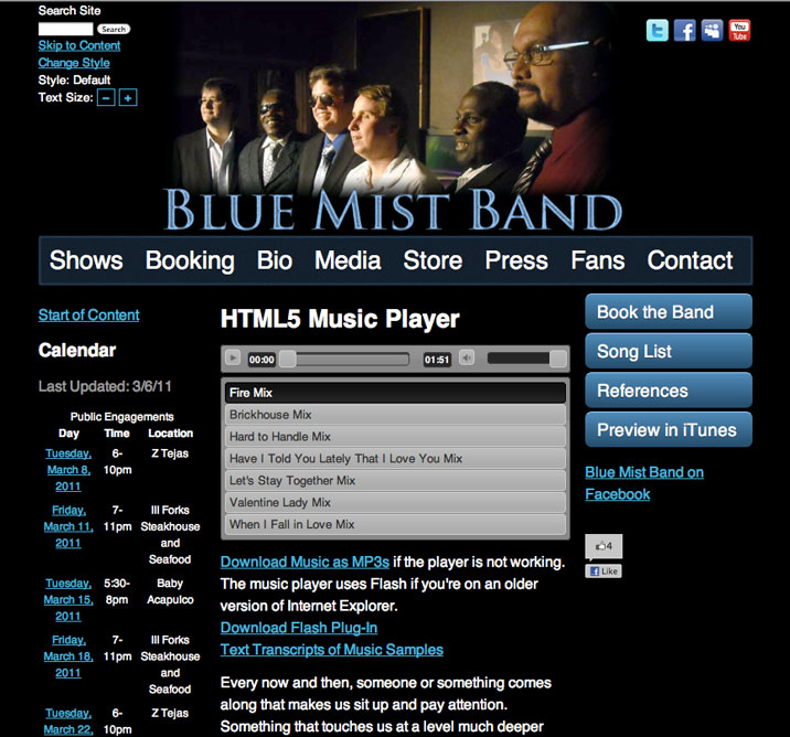screenshot of blue mist band website