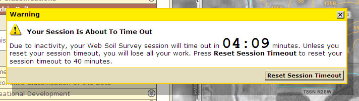Session timeout shown as a modal dialog